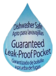 Afbeelding van een druppel waarin o.m. staat 'Dishwasher safe...Guaranteed Leak-proof pocket'